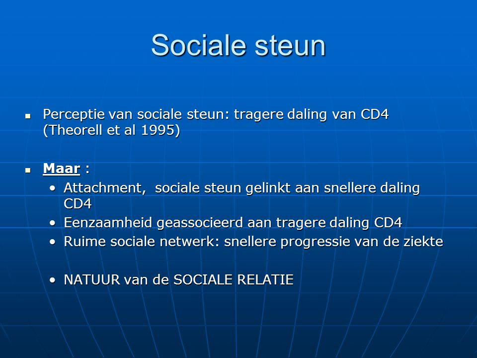 Sociale steun Perceptie van sociale steun: tragere daling van CD4 (Theorell et al 1995) Perceptie van sociale steun: tragere daling van CD4 (Theorell