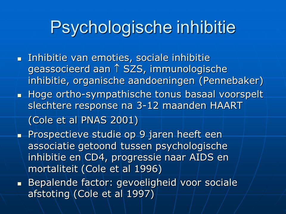 Psychologische inhibitie Inhibitie van emoties, sociale inhibitie geassocieerd aan  SZS, immunologische inhibitie, organische aandoeningen (Pennebake