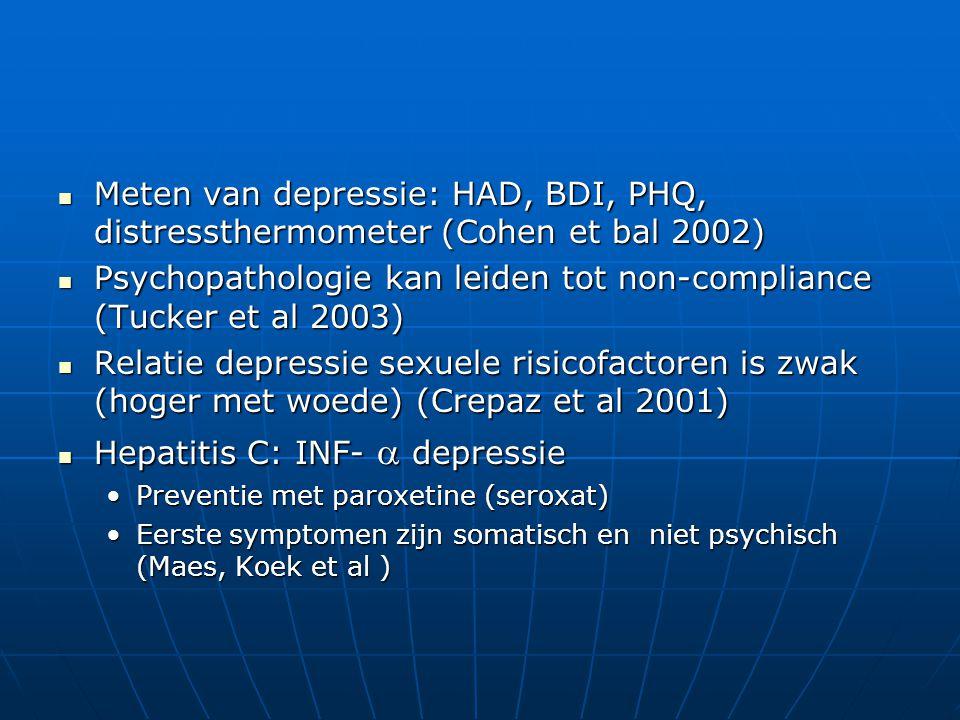 STRESS, DEPRESSIE EN HET IMMUUN SYSTEEM Depressie: immuunsuppressie en inflammatie geassocieerd aan hypercortisolisme (Maes) Depressie: immuunsuppressie en inflammatie geassocieerd aan hypercortisolisme (Maes) Beroepsstress bij verpleegkundigen: Beroepsstress bij verpleegkundigen: stijging van activatiemarkers (CD38, HLADR, CD25) en cytokines (neopterine, IL2,IL6) (De Gucht, Fischler 2001)stijging van activatiemarkers (CD38, HLADR, CD25) en cytokines (neopterine, IL2,IL6) (De Gucht, Fischler 2001)