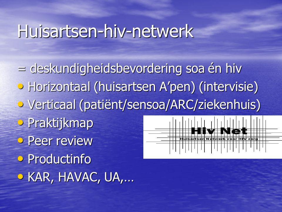 Huisartsenhivnetwerk Antwerpen 15-tal huisartsen A'pen 15-tal huisartsen A'pen 3-4 x/j navorming (reeds 27 vergaderingen gehad!) 3-4 x/j navorming (reeds 27 vergaderingen gehad!) Peer review, met 'gasten' Peer review, met 'gasten' Medisch technisch Medisch technisch Psychosociaal Psychosociaal Richtlijnen (http://webhost.ua.ac.be/cha/HIVNet) Richtlijnen (http://webhost.ua.ac.be/cha/HIVNet)
