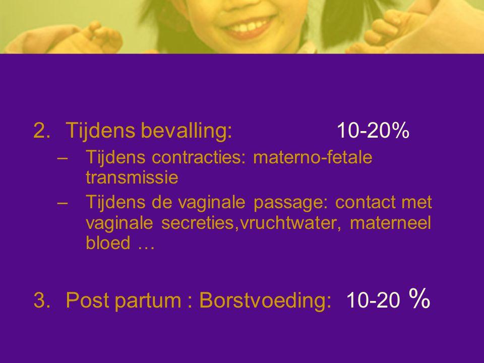 2.Tijdens bevalling: 10-20% –Tijdens contracties: materno-fetale transmissie –Tijdens de vaginale passage: contact met vaginale secreties,vruchtwater,