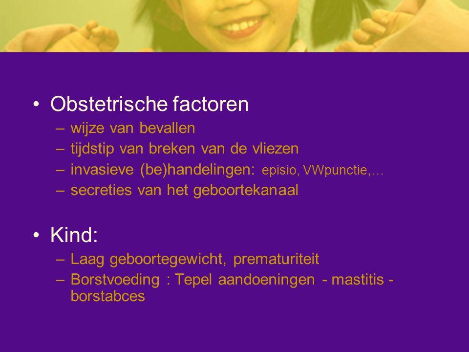 Obstetrische factoren –wijze van bevallen –tijdstip van breken van de vliezen –invasieve (be)handelingen: episio, VWpunctie,… –secreties van het geboo