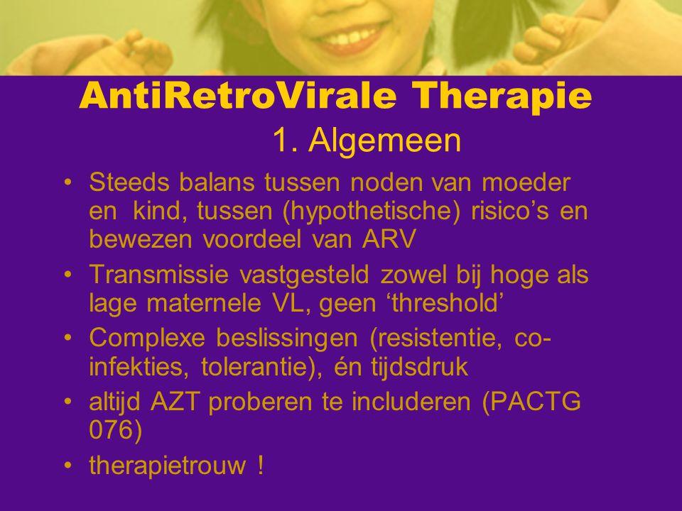 AntiRetroVirale Therapie 1. Algemeen Steeds balans tussen noden van moeder en kind, tussen (hypothetische) risico's en bewezen voordeel van ARV Transm