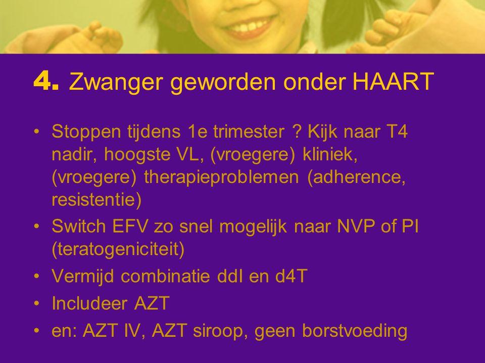 4. Zwanger geworden onder HAART Stoppen tijdens 1e trimester ? Kijk naar T4 nadir, hoogste VL, (vroegere) kliniek, (vroegere) therapieproblemen (adher