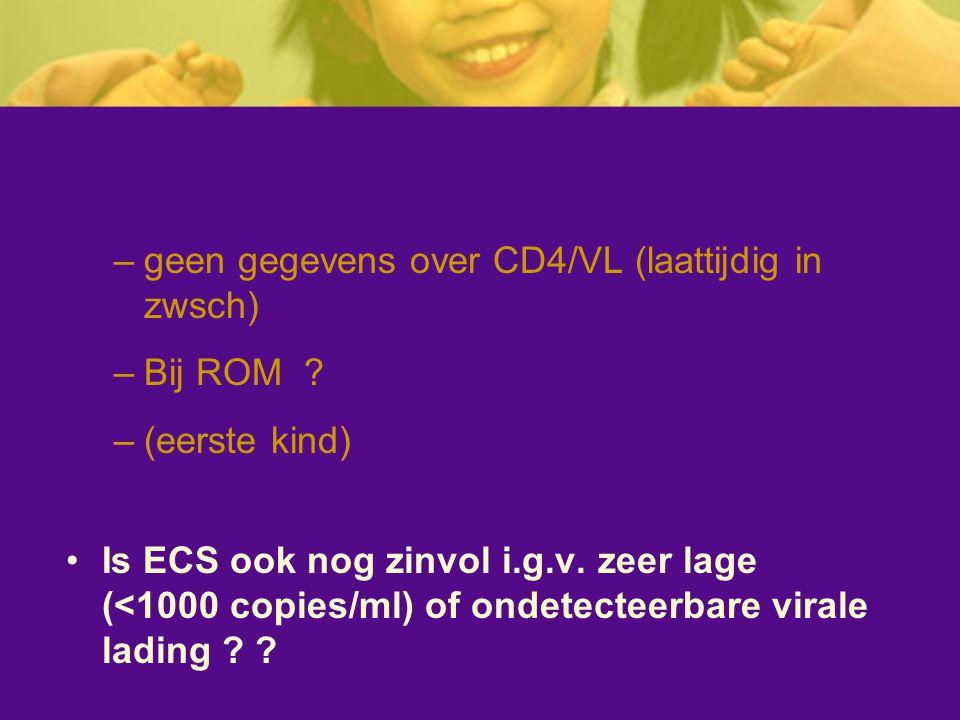 –geen gegevens over CD4/VL (laattijdig in zwsch) –Bij ROM ? –(eerste kind) Is ECS ook nog zinvol i.g.v. zeer lage (<1000 copies/ml) of ondetecteerbare