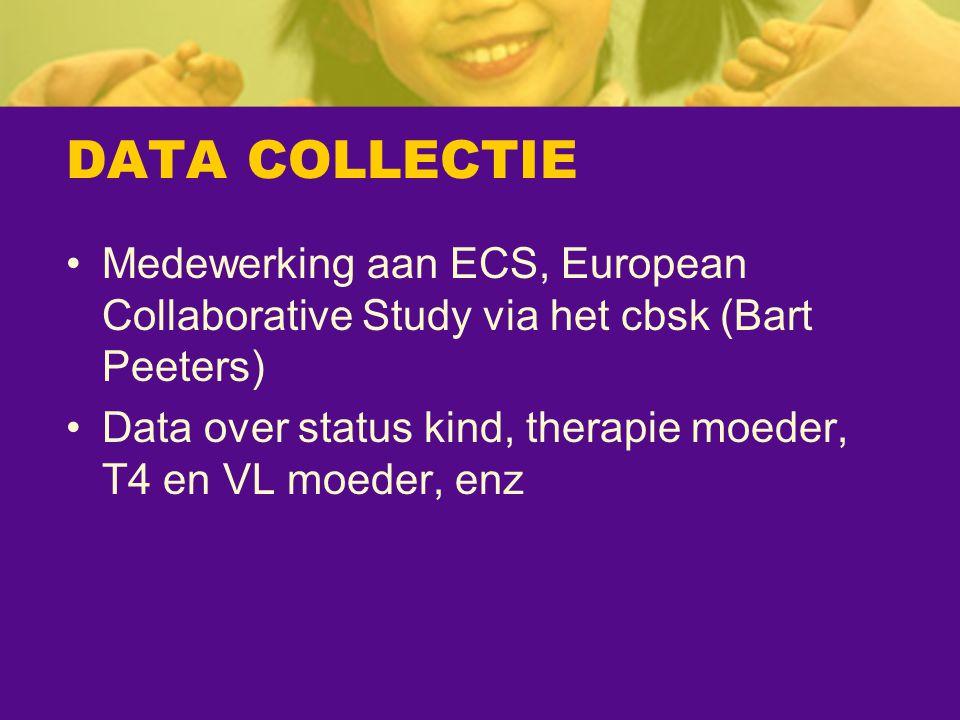 DATA COLLECTIE Medewerking aan ECS, European Collaborative Study via het cbsk (Bart Peeters) Data over status kind, therapie moeder, T4 en VL moeder,