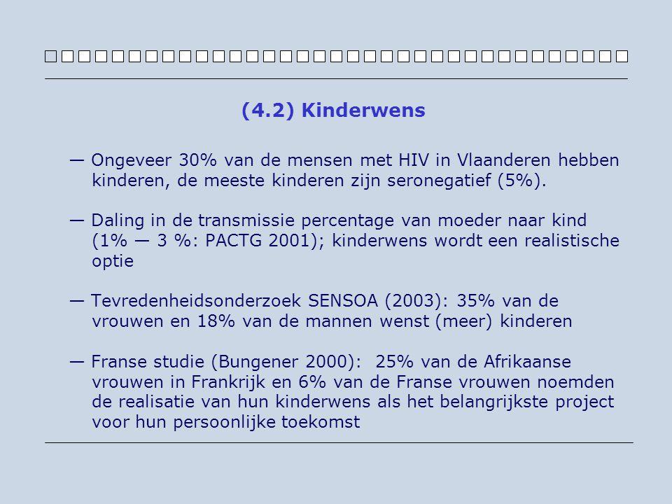 — Ongeveer 30% van de mensen met HIV in Vlaanderen hebben kinderen, de meeste kinderen zijn seronegatief (5%). — Daling in de transmissie percentage v