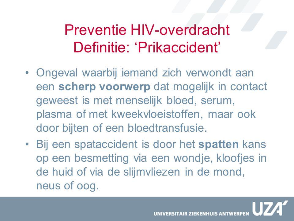 Preventie HIV-overdracht Definitie: 'Prikaccident' Ongeval waarbij iemand zich verwondt aan een scherp voorwerp dat mogelijk in contact geweest is met
