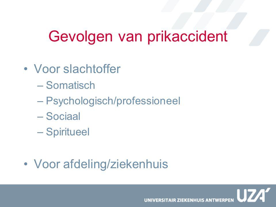 Gevolgen van prikaccident Voor slachtoffer –Somatisch –Psychologisch/professioneel –Sociaal –Spiritueel Voor afdeling/ziekenhuis