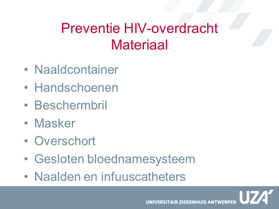 Postexporsure-management Verzorging plaats van blootstelling –Wonde laten bloeden –Wassen met water en zeep –Ontsmetten Risicobepaling –HIV – hepatitis –Testen bron + slachtoffer
