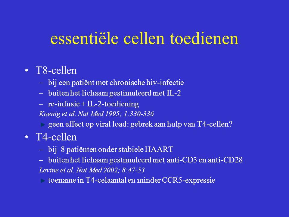 essentiële cellen toedienen T8-cellen –bij een patiënt met chronische hiv-infectie –buiten het lichaam gestimuleerd met IL-2 –re-infusie + IL-2-toedie