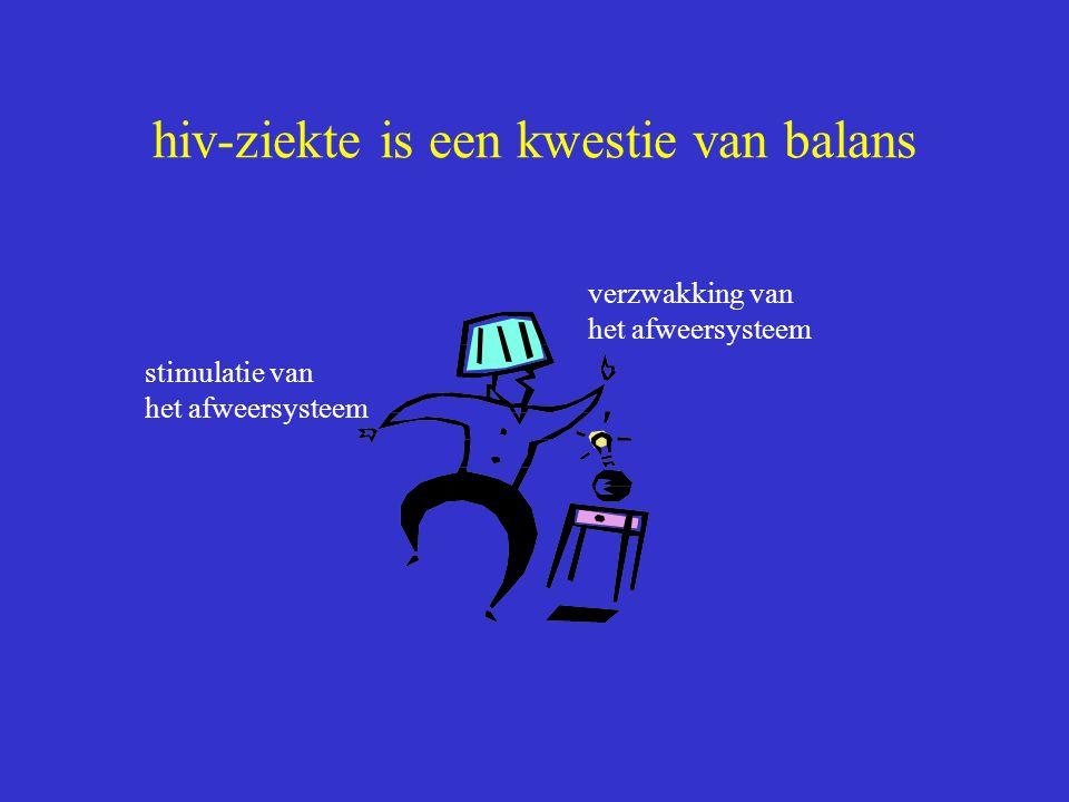 hiv-ziekte is een kwestie van balans stimulatie van het afweersysteem verzwakking van het afweersysteem