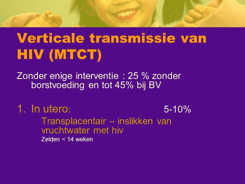 Verticale transmissie van HIV (MTCT) Zonder enige interventie : 25 % zonder borstvoeding en tot 45% bij BV 1.In utero :5-10% Transplacentair – inslikk