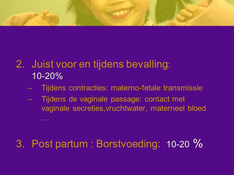 2.Juist voor en tijdens bevalling : 10-20% –Tijdens contracties: materno-fetale transmissie –Tijdens de vaginale passage: contact met vaginale secreti