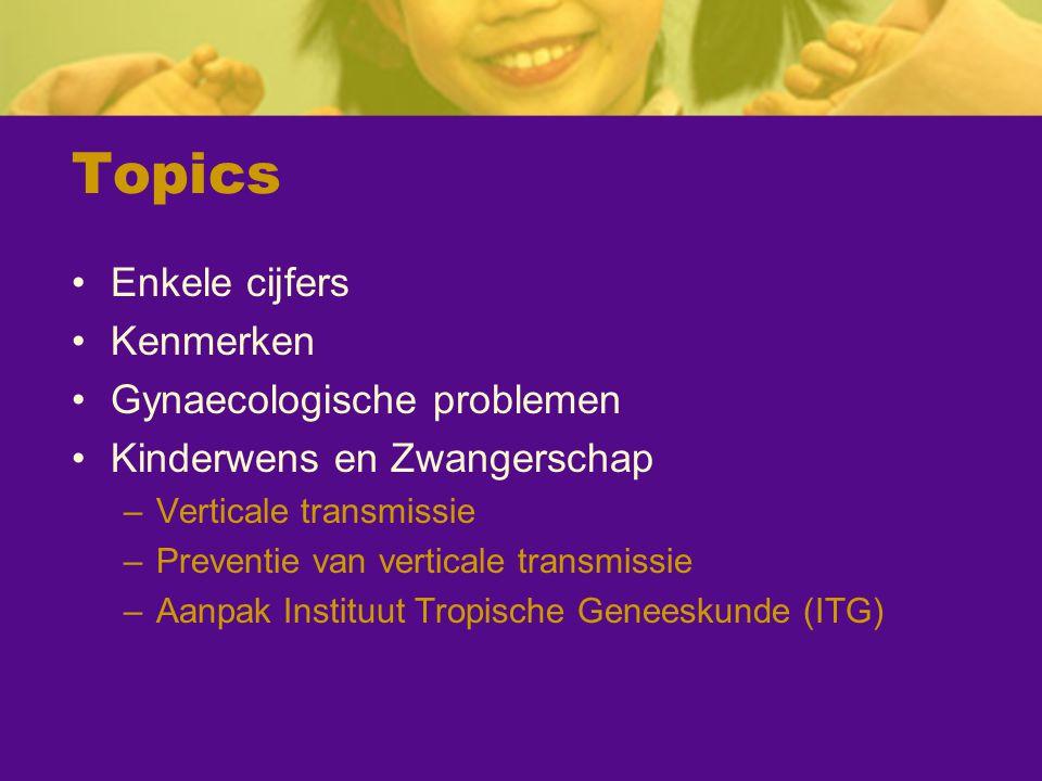 Topics Enkele cijfers Kenmerken Gynaecologische problemen Kinderwens en Zwangerschap –Verticale transmissie –Preventie van verticale transmissie –Aanp