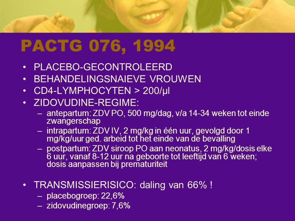 PACTG 076, 1994 PLACEBO-GECONTROLEERD BEHANDELINGSNAIEVE VROUWEN CD4-LYMPHOCYTEN > 200/µl ZIDOVUDINE-REGIME: –antepartum: ZDV PO, 500 mg/dag, v/a 14-3