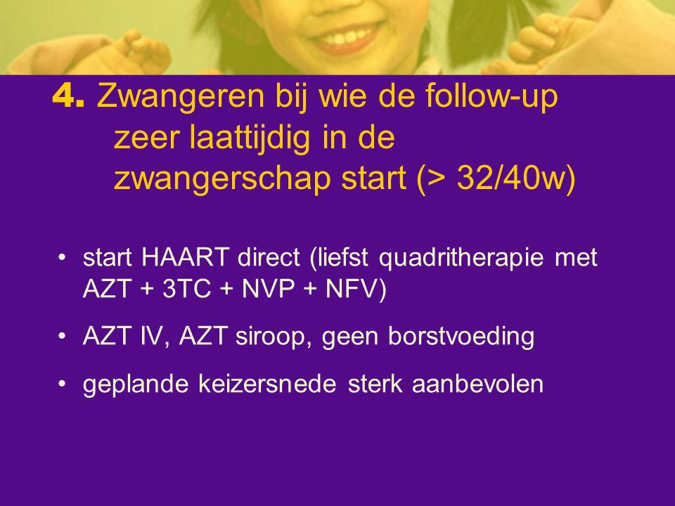 4. Zwangeren bij wie de follow-up zeer laattijdig in de zwangerschap start (> 32/40w) start HAART direct (liefst quadritherapie met AZT + 3TC + NVP +