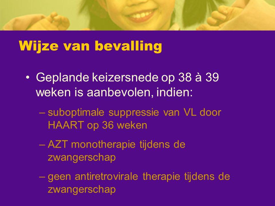 Wijze van bevalling Geplande keizersnede op 38 à 39 weken is aanbevolen, indien: –suboptimale suppressie van VL door HAART op 36 weken –AZT monotherap