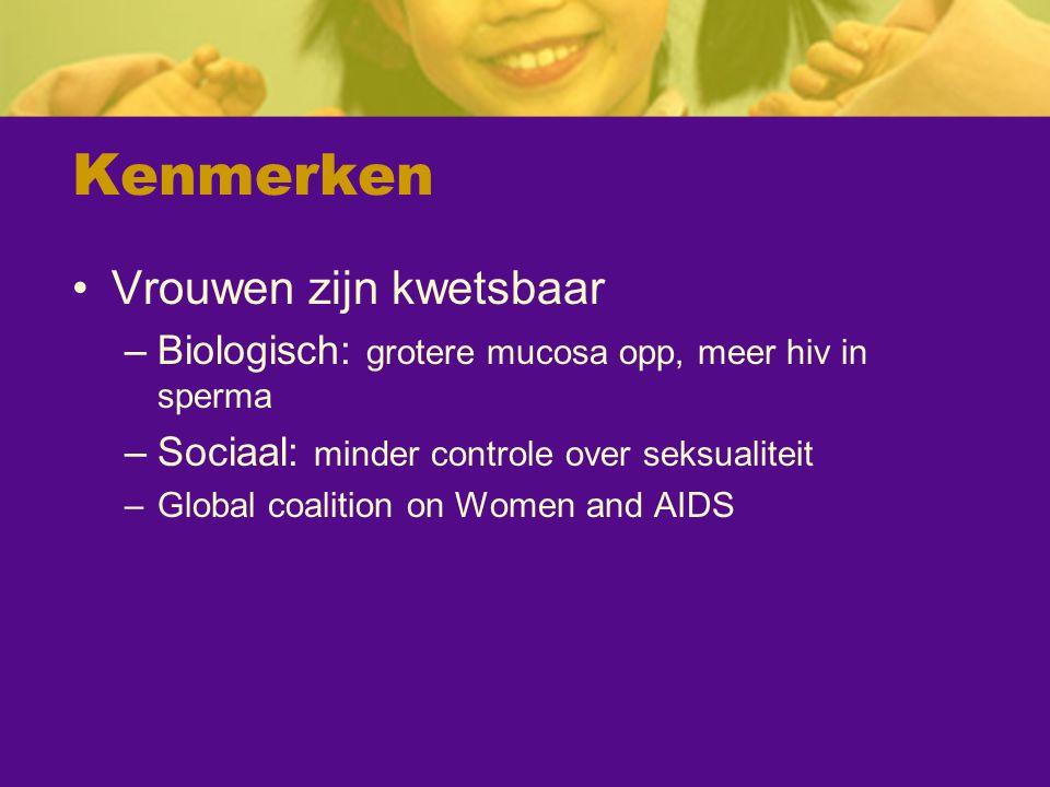 Kenmerken Vrouwen zijn kwetsbaar –Biologisch: grotere mucosa opp, meer hiv in sperma –Sociaal: minder controle over seksualiteit –Global coalition on
