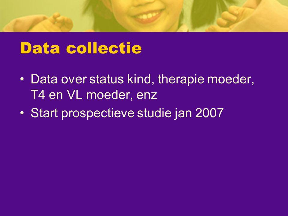 Data collectie Data over status kind, therapie moeder, T4 en VL moeder, enz Start prospectieve studie jan 2007