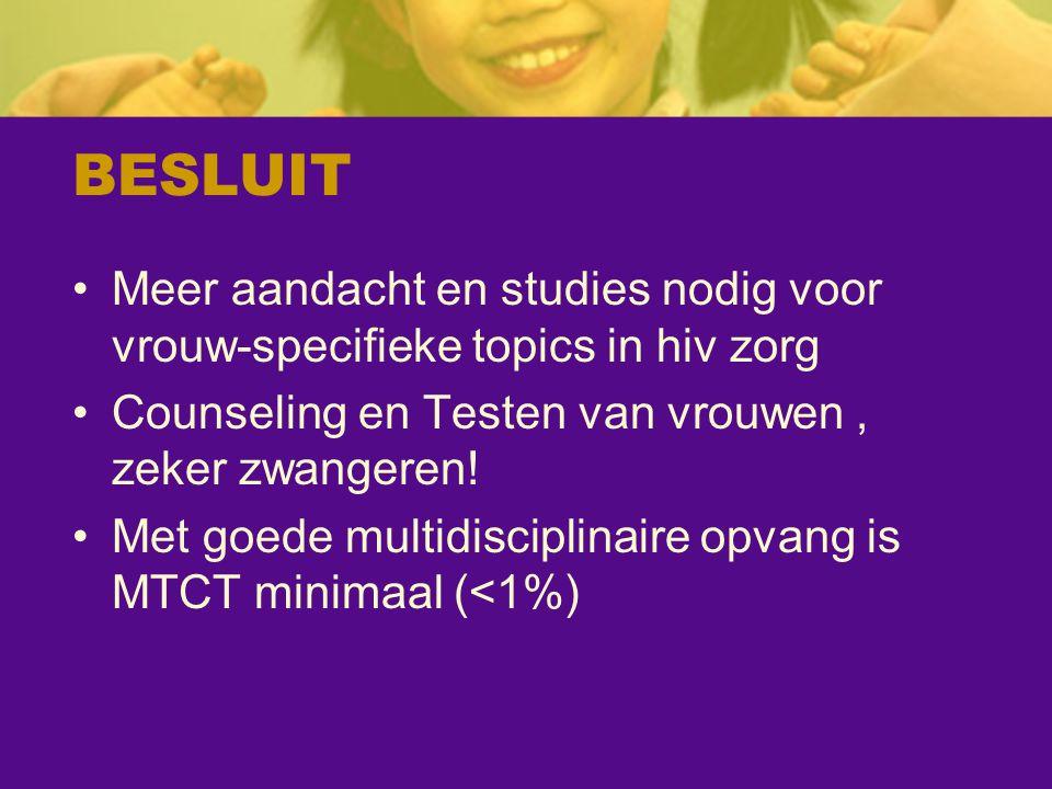 BESLUIT Meer aandacht en studies nodig voor vrouw-specifieke topics in hiv zorg Counseling en Testen van vrouwen, zeker zwangeren! Met goede multidisc