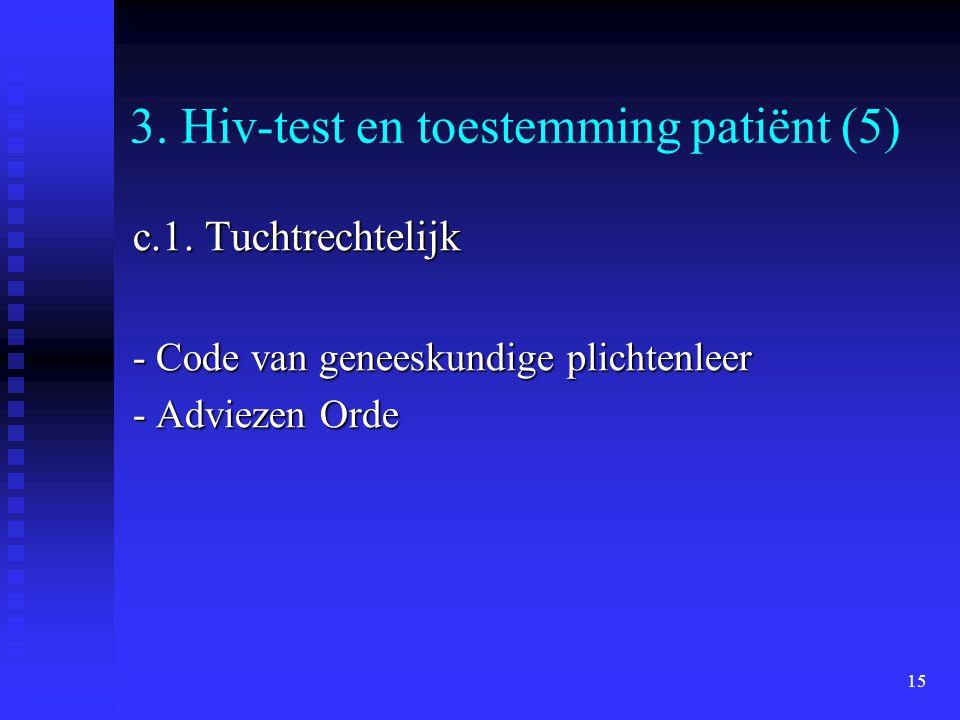 15 3. Hiv-test en toestemming patiënt (5) c.1. Tuchtrechtelijk - Code van geneeskundige plichtenleer - Adviezen Orde