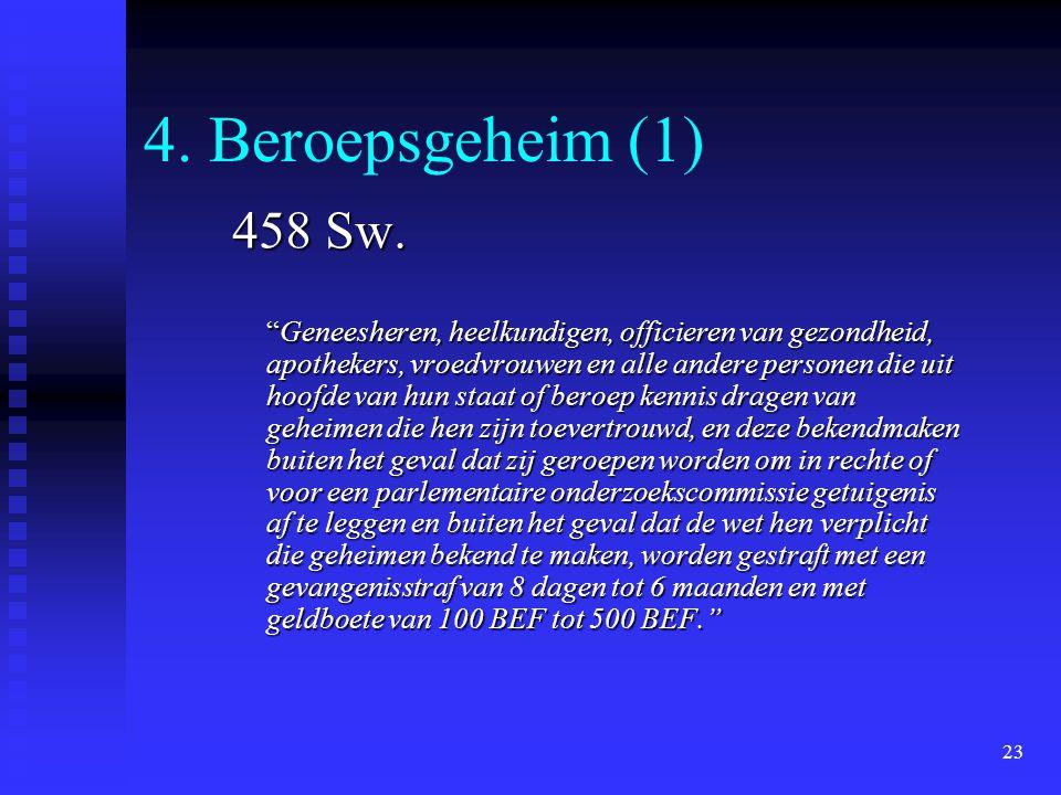 """23 4. Beroepsgeheim (1) 458 Sw. """"Geneesheren, heelkundigen, officieren van gezondheid, apothekers, vroedvrouwen en alle andere personen die uit hoofde"""