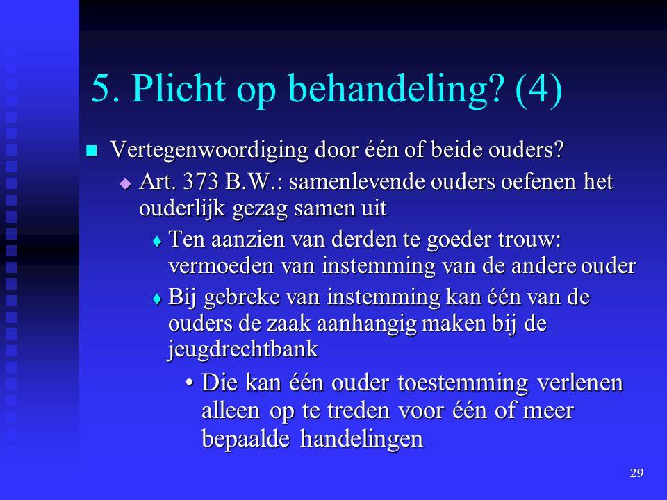29 5. Plicht op behandeling? (4) Vertegenwoordiging door één of beide ouders? Vertegenwoordiging door één of beide ouders?  Art. 373 B.W.: samenleven