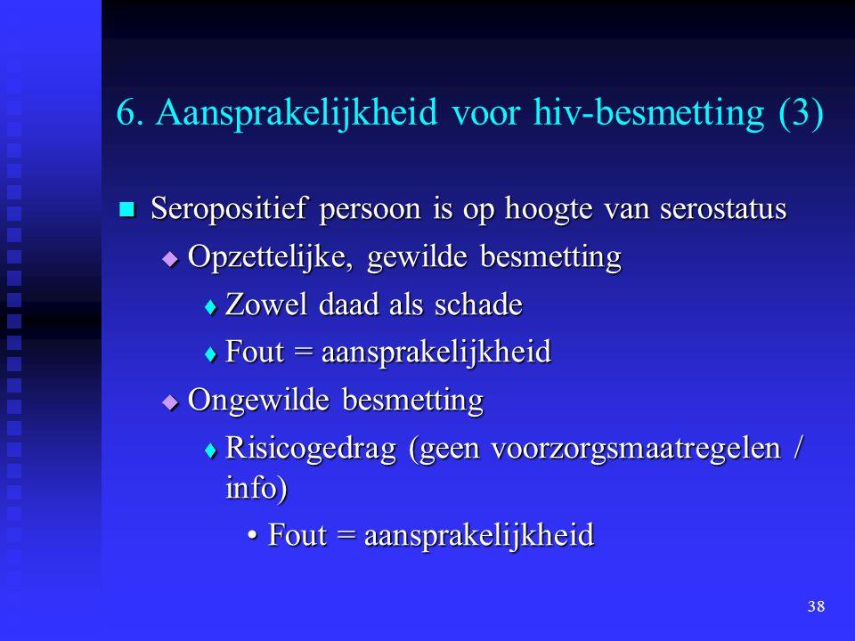 38 6. Aansprakelijkheid voor hiv-besmetting (3) Seropositief persoon is op hoogte van serostatus Seropositief persoon is op hoogte van serostatus  Op
