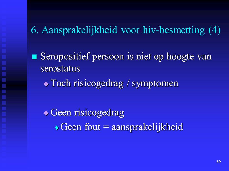 39 6. Aansprakelijkheid voor hiv-besmetting (4) Seropositief persoon is niet op hoogte van serostatus Seropositief persoon is niet op hoogte van seros