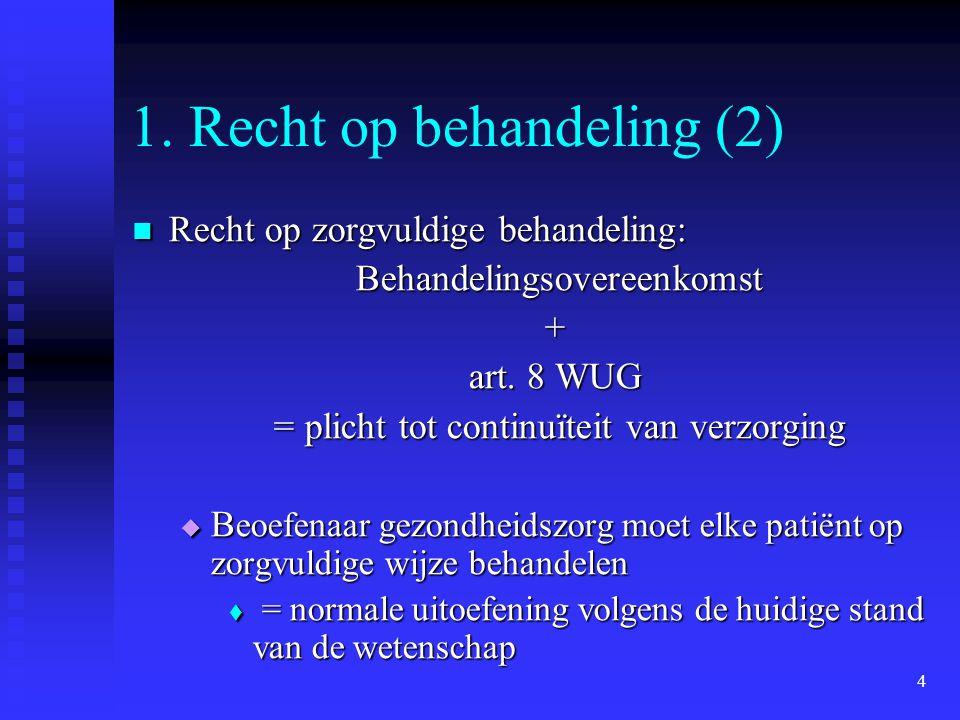 4 1. Recht op behandeling (2) Recht op zorgvuldige behandeling: Recht op zorgvuldige behandeling: Behandelingsovereenkomst Behandelingsovereenkomst+ a