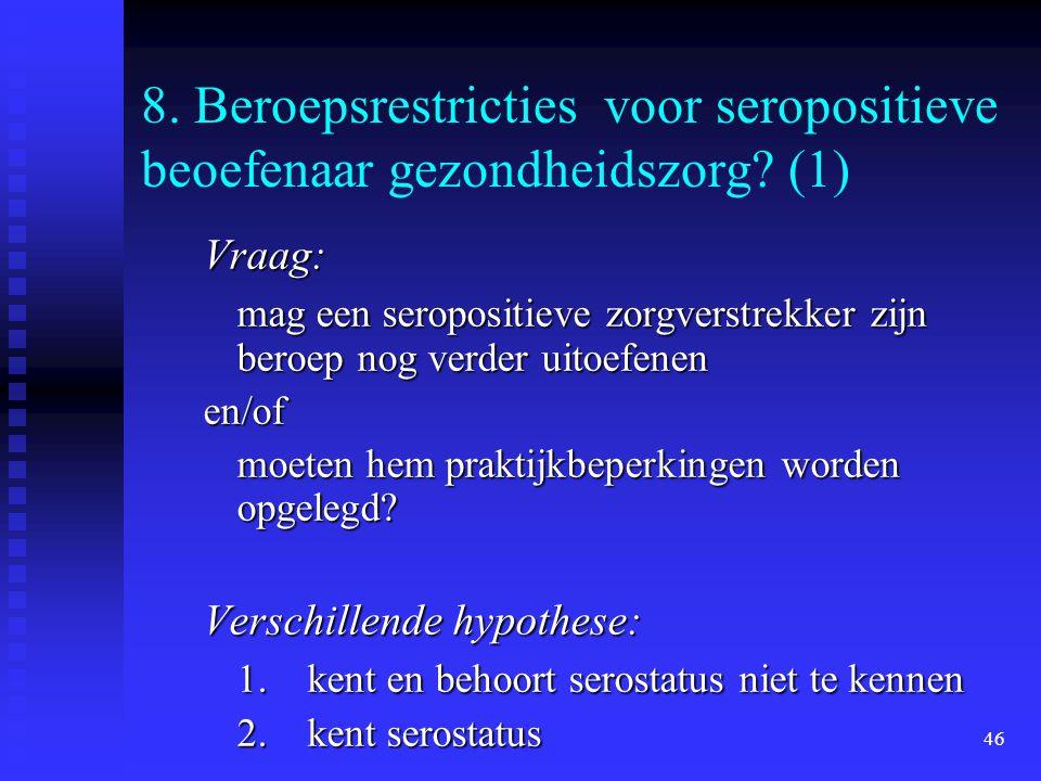 46 8. Beroepsrestricties voor seropositieve beoefenaar gezondheidszorg? (1) Vraag: mag een seropositieve zorgverstrekker zijn beroep nog verder uitoef