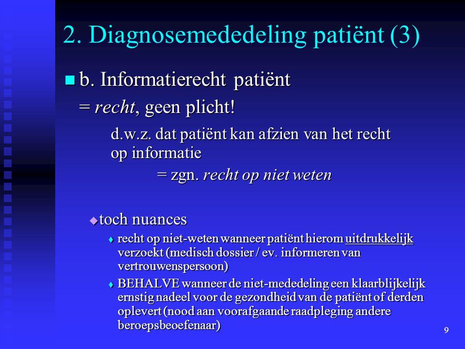 9 2. Diagnosemededeling patiënt (3) b. Informatierecht patiënt b. Informatierecht patiënt = recht, geen plicht! d.w.z. dat patiënt kan afzien van het