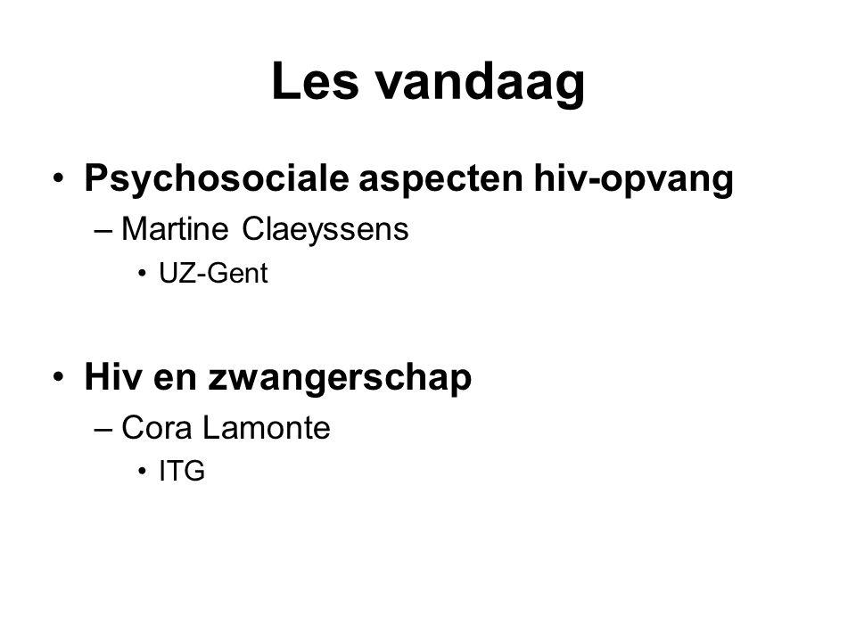 Les vandaag Psychosociale aspecten hiv-opvang –Martine Claeyssens UZ-Gent Hiv en zwangerschap –Cora Lamonte ITG