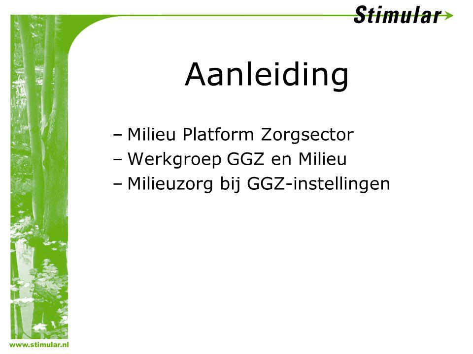 Aanleiding –Milieu Platform Zorgsector –Werkgroep GGZ en Milieu –Milieuzorg bij GGZ-instellingen