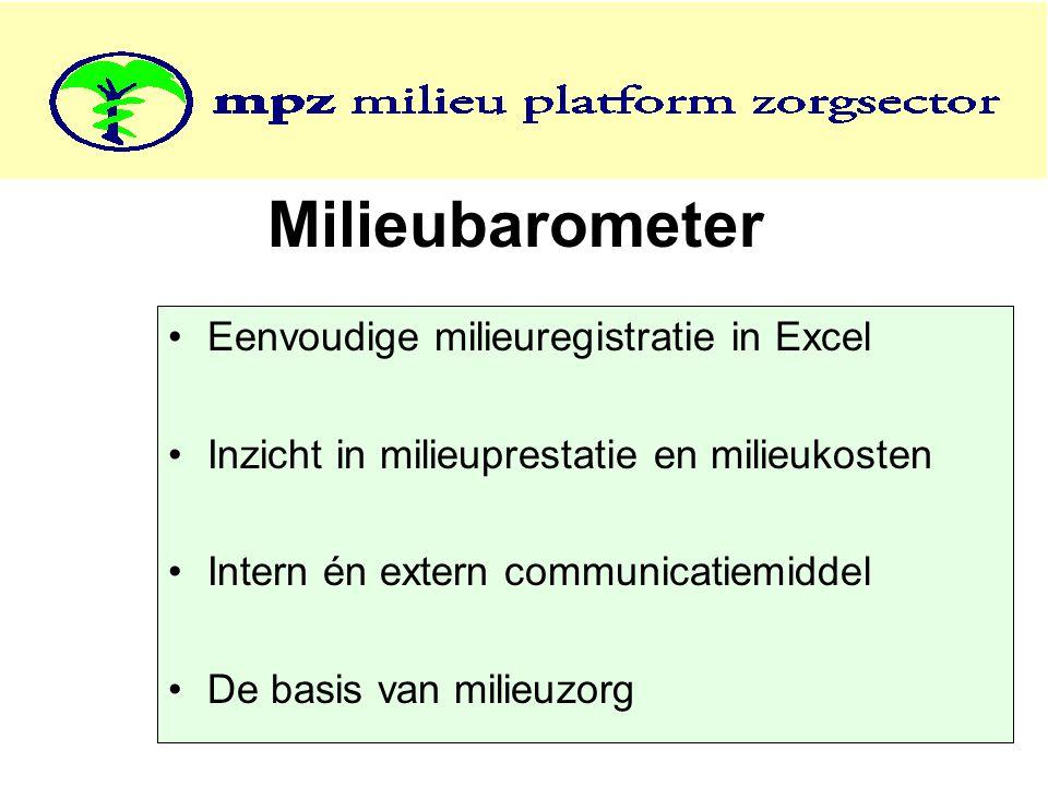 Milieubarometer Eenvoudige milieuregistratie in Excel Inzicht in milieuprestatie en milieukosten Intern én extern communicatiemiddel De basis van milieuzorg