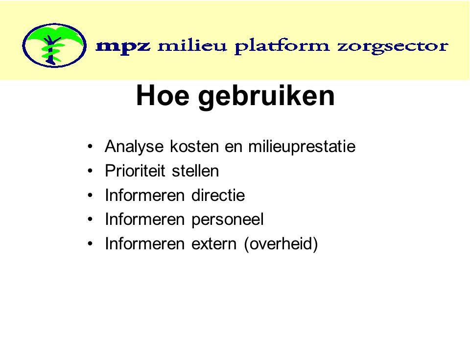 Hoe gebruiken Analyse kosten en milieuprestatie Prioriteit stellen Informeren directie Informeren personeel Informeren extern (overheid)