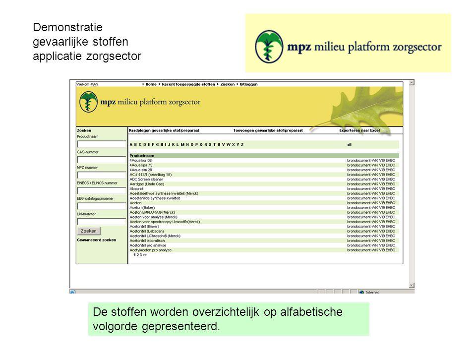 Demonstratie gevaarlijke stoffen applicatie zorgsector De stoffen worden overzichtelijk op alfabetische volgorde gepresenteerd.