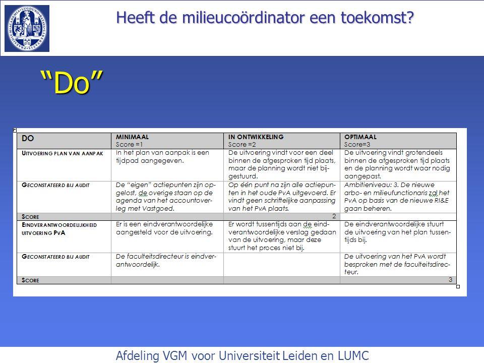 Heeft de milieucoördinator een toekomst? Afdeling VGM voor Universiteit Leiden en LUMC Do