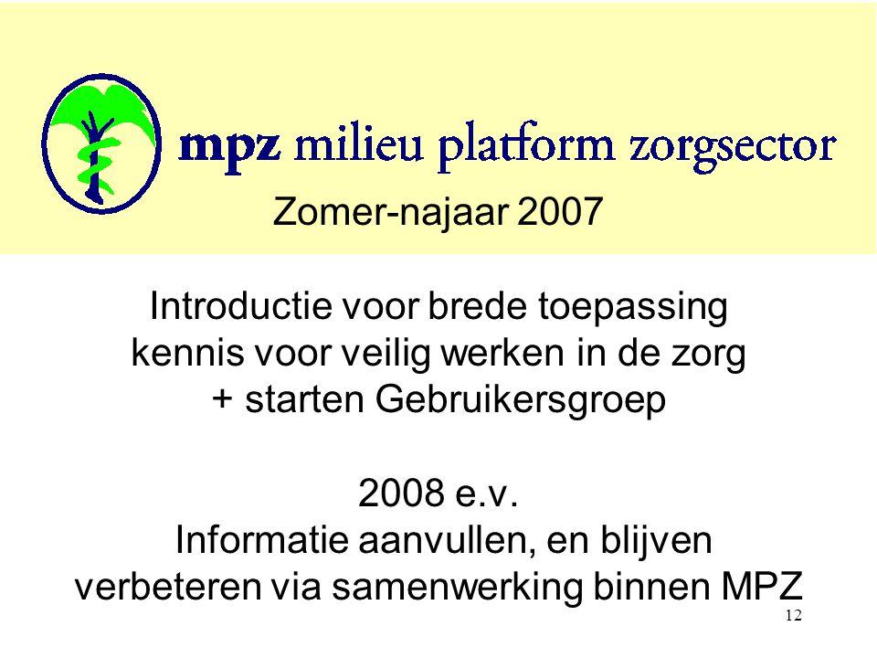 12 Zomer-najaar 2007 Introductie voor brede toepassing kennis voor veilig werken in de zorg + starten Gebruikersgroep 2008 e.v.