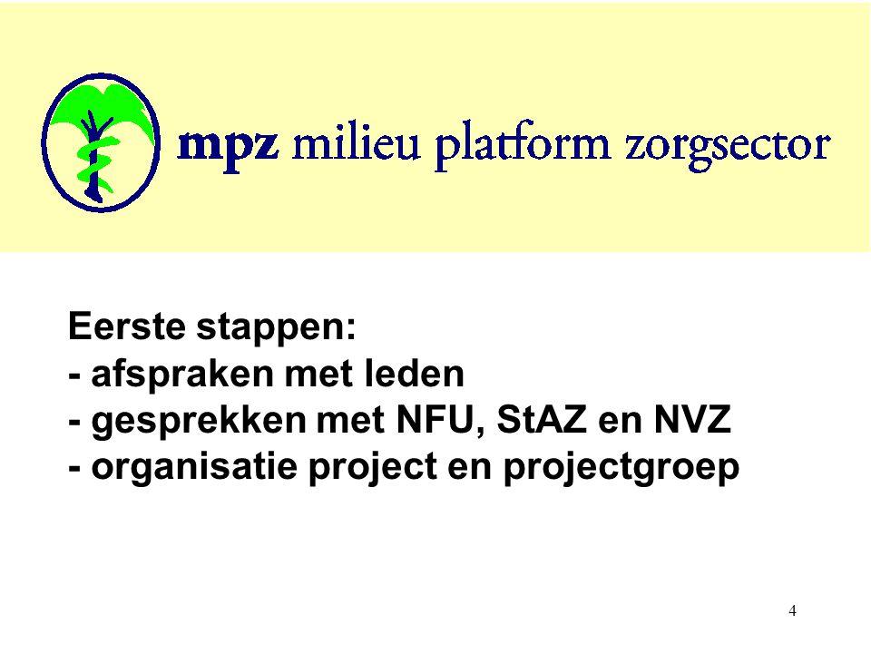 4 Eerste stappen: - afspraken met leden - gesprekken met NFU, StAZ en NVZ - organisatie project en projectgroep