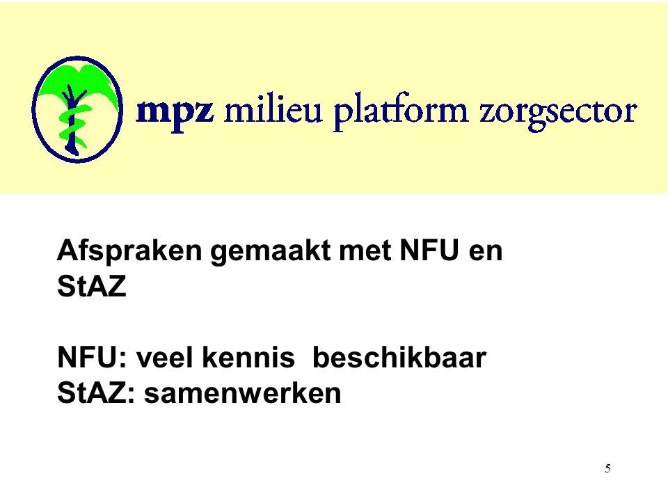 5 Afspraken gemaakt met NFU en StAZ NFU: veel kennis beschikbaar StAZ: samenwerken