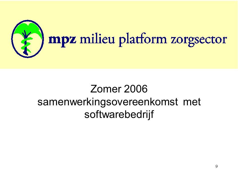9 Zomer 2006 samenwerkingsovereenkomst met softwarebedrijf