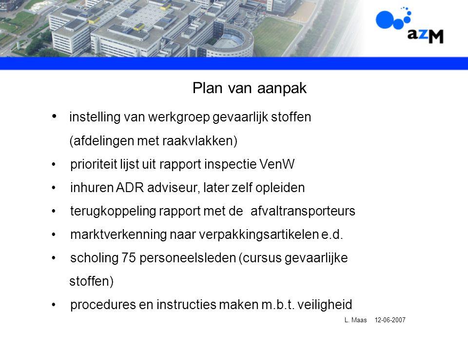 Plan van aanpak instelling van werkgroep gevaarlijk stoffen (afdelingen met raakvlakken) prioriteit lijst uit rapport inspectie VenW inhuren ADR adviseur, later zelf opleiden terugkoppeling rapport met de afvaltransporteurs marktverkenning naar verpakkingsartikelen e.d.
