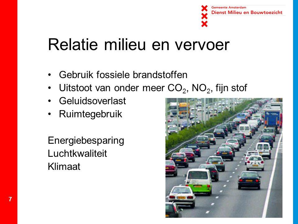 7 Relatie milieu en vervoer Gebruik fossiele brandstoffen Uitstoot van onder meer CO 2, NO 2, fijn stof Geluidsoverlast Ruimtegebruik Energiebesparing Luchtkwaliteit Klimaat