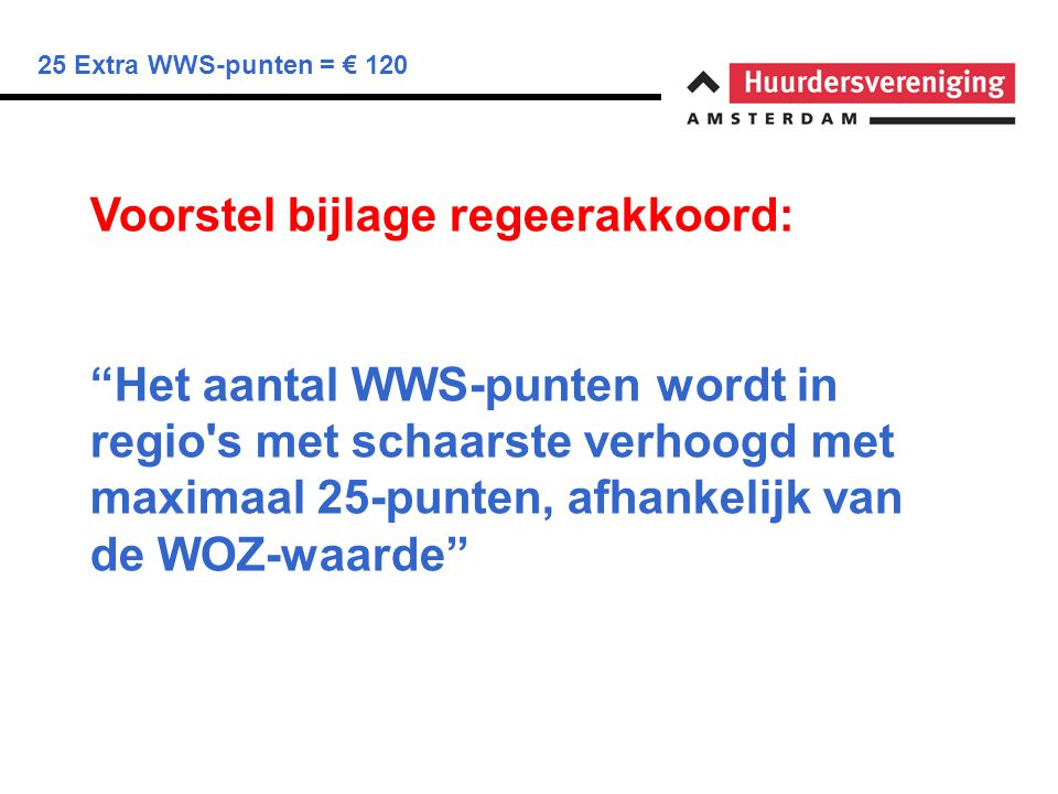25 Extra WWS-punten = € 120 Onduidelijk: Hoogte liberalisatiegrens Aantal WWS-punten Welke regio's Welke WOZ-waarde Gevolgen huurtoeslag