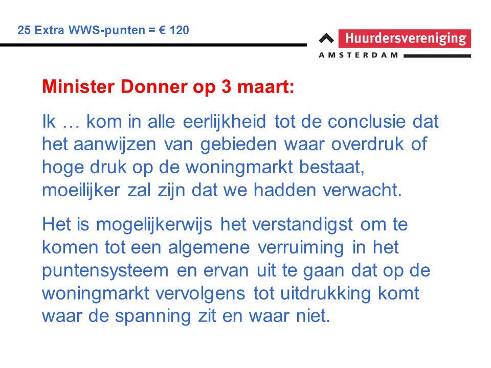 25 Extra WWS-punten = € 120 Minister Donner op 3 maart: Ik … kom in alle eerlijkheid tot de conclusie dat het aanwijzen van gebieden waar overdruk of