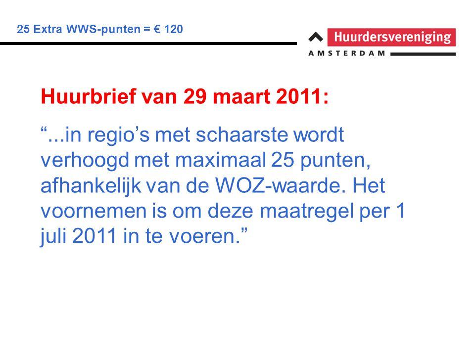 """25 Extra WWS-punten = € 120 Huurbrief van 29 maart 2011: """"...in regio's met schaarste wordt verhoogd met maximaal 25 punten, afhankelijk van de WOZ-wa"""