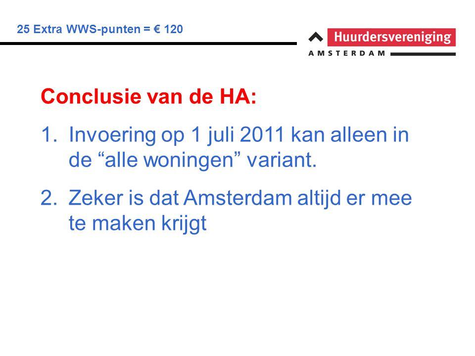 25 Extra WWS-punten = € 120 Conclusie van de HA: 1.Invoering op 1 juli 2011 kan alleen in de alle woningen variant.