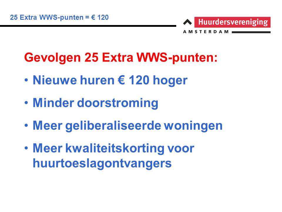 25 Extra WWS-punten = € 120 Amsterdam Zuid ( 23 in Woningnet 24 maart ) Nr:OppervlakOude HuurNieuwe huur 3 de 59 m 2 € 501€ 621 9 ste 35 m 2 € 340€ 460 13 de 52 m 2 € 412€ 532 17 de 38 m 2 € 503€ 623 22 ste 39 m 2 € 595€ 715 (lib.) Gemiddelde stijging 25% hogere huur